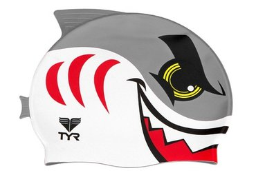 Tyr KID'S ANGRY SHARK SWIM CAP LCSHRK092